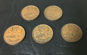 CANADIAN VINTAGE PENNY LOT OF 5 1940 1945 1946  2  1952 INV3