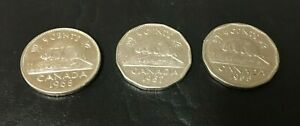 CANADIAN VINTAGE NICKELS 5 CENTS COINS LOT OF 3 1955 1957 1968 SHARP COINS INV1