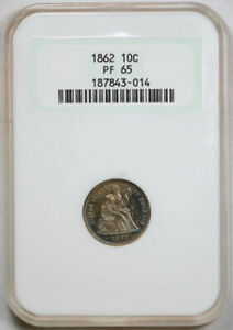 1862 10C PROOF SEATED LIBERTY DIME NGC PF 65 PR TONED OLD FATTY HOLDER