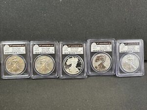 2011 25TH ANNIVERSARY SILVER EAGLE SET PCGS FIRST STRIKE GRADED MS70