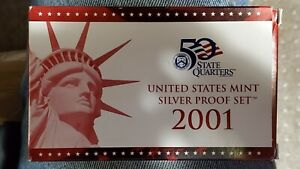 2001 US MINT SILVER PROOF OGP REPLACEMENT BOX & COA     NO COINS