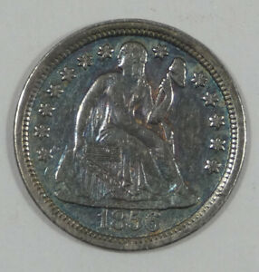 1856 LARGE DATE LIBERTY SEATED DIME EXTRA FINE  SILVER 10C