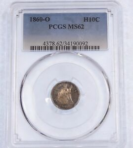 1860 O LIBERTY SEATED HALF DIME CERTIFIED PCGS MS 62 SILVER 5C