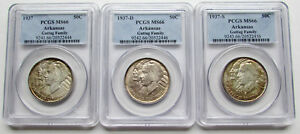 Click now to see the BUY IT NOW Price! 1937 ARKANSAS 3 COIN PDS SET 50C PCGS MS66 TONED