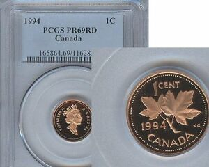 Click now to see the BUY IT NOW Price! 1994 CANADA ONE CENT PCGS PR69 RD