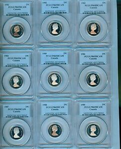 Click now to see the BUY IT NOW Price! 1981 TO 2004 CANADA TWENTY FIVE CENTS PCGS PR 69 DCAM REGISTRY SET