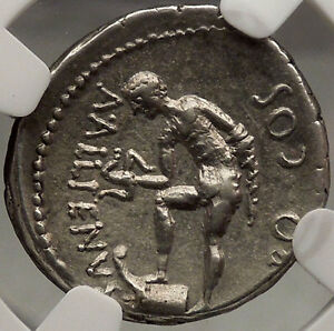 Click now to see the BUY IT NOW Price! JULIUS CAESAR AUTHENTIC ANCIENT SILVER NGC CERTIFIED CH XF  ROMAN COIN TRINACRUS