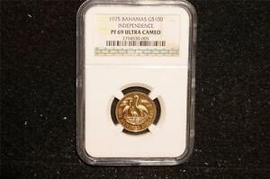 Click now to see the BUY IT NOW Price! 1975 $100 BAHAMAS INDEPENDENCE GOLD PROOF   NGC GRADED PF69 ULTRA CAMEO