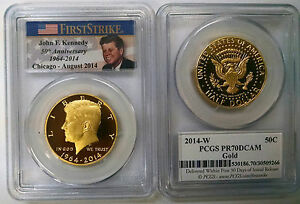 Click now to see the BUY IT NOW Price! 2014 W 50C PCGS PR70 DCAM GOLD KENNEDY FIRST STRIKE ANA CHICAGO  PROOF 2