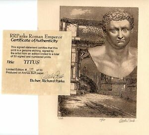 TITUS ROMAN EMPEROR LIMITED EDITION ETCHING PORTRAIT FINE ART PRINT