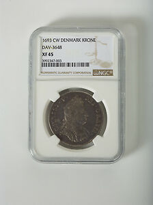 Click now to see the BUY IT NOW Price! 1693 CW DENMARK KRONE  DAV  3648 NGC  XF 45