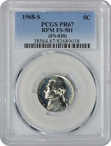 Click now to see the BUY IT NOW Price! 1968 S JEFFERSON NICKEL PCGS PR67 RPM FS 501 CHERRYPICKER VARIETY REPUNCHED