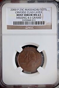 Click now to see the BUY IT NOW Price! 2000  P  MASSACHUSETTS  MA  STATE QUARTER  25C  CLAD LAYER MISSING  OBV NGC MS63
