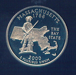 2000 90  SILVER MASSACHUSETTS PROOF QUARTER  661