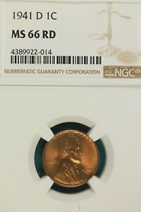 1941 D NGC MS66 RED LINCOLN WHEAT CENT   A7835
