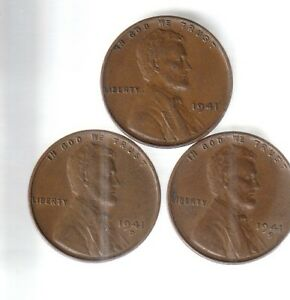 1941  1941D  1941S   LINCOLN CENTS  /  X F  [REDUCED TO $1.99/ SHIP/79C] 112057