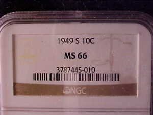 ROOSEVELT 10 CENTS 1949 S NGC MS 66