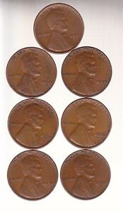 1934D 1935S 1936S 1937S 1938D 1938S 1939D   LINCOLN CENTS  RS COINS / MAKE OFFER