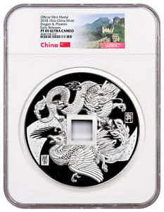 Click now to see the BUY IT NOW Price! 2018 CHINA DRAGON & PHOENIX 1 KILO SILVER PROOF MEDAL NGC PF69 UC ER SKU51993