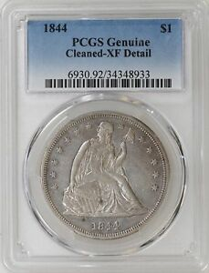 1844 P PCGS XF DETAILS SEATED LIBERTY SILVER DOLLAR BOLD XF TOUGH DATE   I 10638