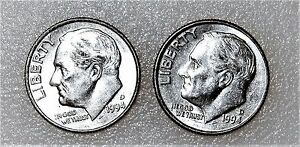 1994 ROOSEVELT DIMES CIRCULATED LOT1 LOOK  NICE