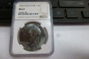 Click now to see the BUY IT NOW Price! 1976 D TYPE 1 NGC MS 67 EISENHOWER IKE DOLLAR $1 HIGHEST GRADE MONSTER TONING