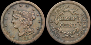 BRAIDED HAIR HALF CENT 1/2C 1851 AU