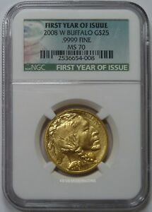 2008 W $25 MS70 AMERICAN GOLD BUFFALO 1/2 OZ NGC MS70 FIRST YEAR OF ISSUE