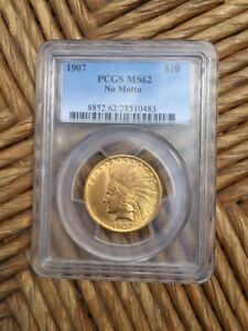 1907 NO MOTTO TYPE 3 TEN DOLLAR $10 GOLD INDIAN COIN PCGS MS 62 US