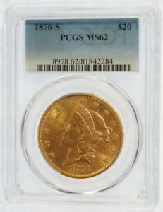 PCGS MS62 1876 S TWENTY DOLLAR GOLD LIBERTY HEAD  28