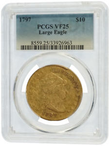 Click now to see the BUY IT NOW Price! PCGS VF25 1797 GOLD $10 LARGE EAGLE TURBAN HEAD  51