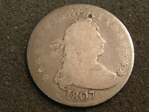 1807 DRAPED BUST QUARTER G DETAILS   SURFACE HOLE/NICK ON OBVERSE
