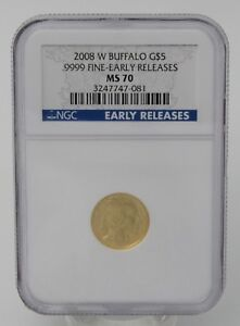 2008 W $5 BUFFALO EARLY RELEASE GOLD COIN NGC MS70   CERT 3247747 081