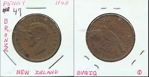 WORLD COINS NEW ZEALAND 1943 ONE PENNY AU  2G481