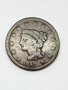 1840 SMALL DATE ONE CENT PIECE BRAIDED HAIR