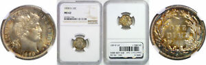 1898 S BARBER DIME NGC MS 62