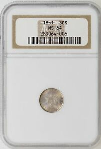 1851 NGC MS64 THREE 3 CENT SILVER TRIME GORGEOUS COLOR & LUSTER   I 15589