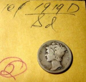1919 D MERCURY DIME LOOK AT PICTURES TO GRADE
