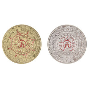 SILVER/GOLD PLATED MAYAN AZTEC PROPHECY CALENDAR COMMEMORATIVE COIN COLLECTION