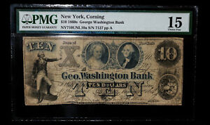 Click now to see the BUY IT NOW Price! 1861 $10 GEORGE WASHINGTON BANK CORNING NY   VERY  POP 1 OF 1 $10   PMG