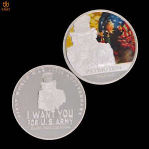 WWI USA COUNTRY INCARNATION SAM UNCLE SILVER PLATED COMMEMORATE COIN COLLECTION