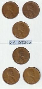 1934  THRU  1939  /  6  P  MINTS / CIRCULATED   LINCOLN CENT SET   NEW  LOWER  $