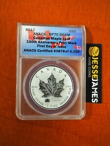 Click now to see the BUY IT NOW Price! 2017 $5 REVERSE PROOF SILVER MAPLE LEAF ANACS RP70 150TH ANN PRIVY FIRST DAY