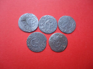 LOT OF 5 MEDIEVAL SILVER  SWEDEN COINS.