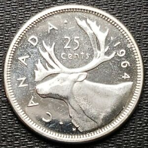 1964 CANADA 25 CENTS SILVER QUARTER    MINT CONDITION    PROOF LIKE