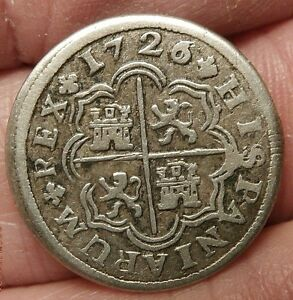 1726/5 OVERDATE SILVER 1 REAL MADRID  MINT  CURRENT EARLY AMERICA S207