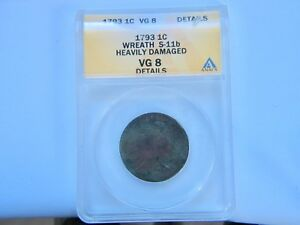 1793 WREATH VINE AND BARS 1C FLOWING HAIR LARGE CENT ANACS VG DETAIL