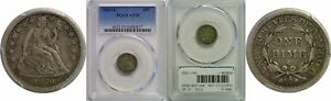 1860 S SEATED LIBERTY DIME PCGS VF 25