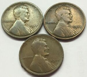 3 1911 LINCOLN WHEAT PENNY   FREE SHIP