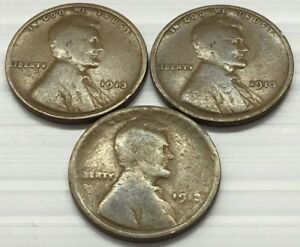 3 1913 LINCOLN WHEAT PENNY   FREE SHIP